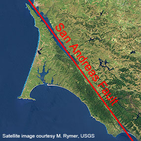 The San Andreas Fault where it separates the Point Reyes peninsula from the mainland.